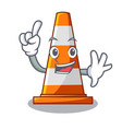 finger on traffic cone against mascot argaet vector image