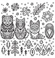 forest animals nesting dolls for colouring vector image