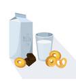 glass of milk with pretzel white vector image vector image