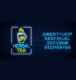 glowing neon cup herbal tea sign in rectangle vector image