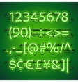 Glowing Neon Lime Green Numbers vector image vector image
