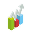 graphic stats growing 3d vector image vector image