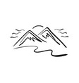 hand drawn mountain logo vector image vector image