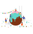 happy easter scene with families and kids vector image vector image