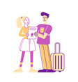 happy male and female tourists characters hold vector image
