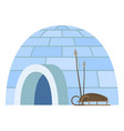 igloo arctic people dwelling with sledge and spire vector image vector image