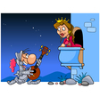 Knight in armor sings a serenade under the balcony vector image