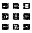 Languages icons set grunge style vector image vector image
