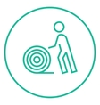 Man with wire spool line icon vector image vector image