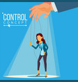 manipulation business woman marionette vector image
