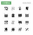 novel coronavirus 2019-ncov 16 solid glyph black vector image vector image