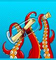 octopus and message in bottle pop art vector image vector image
