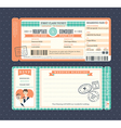 pastel retro boarding pass ticket wedding card vector image vector image