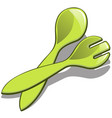 plastic spoon and fork green color isolated on vector image vector image