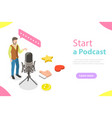 podcasting flat isometric concept vector image vector image