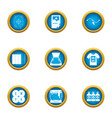 polygraphy icons set flat style vector image vector image