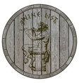 satyr playing flute against wooden barrel hand vector image