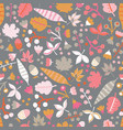 scandinavian flowers and leaves seamless vector image vector image