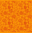 seamless autumn leaves pattern with line doodle vector image vector image