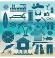 seaside holiday icon set vector image