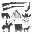 set cowboy club icon concept for shirt vector image vector image