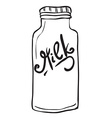simple black and white milk bottle vector image vector image