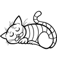 sleeping cat cartoon for coloring vector image vector image