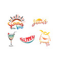 summer lettering set with sun cocktail vector image vector image
