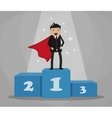 Super businessman standing on podium vector image vector image