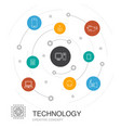 technology colored circle concept with simple vector image vector image