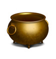 vintage empty golden cauldron vector image