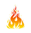 vintage flame icon colored hand drawn fire symbol vector image vector image