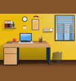 workplace in room with view city at window vector image vector image