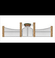 zoo gate isolated object in cartoon style vector image vector image