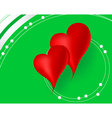 Red hearts in green background vector image