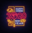 2020 chinese new year neon greeting card vector image vector image