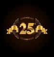 25 years anniversary celebration logotype golden vector image vector image