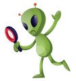 alien with magnifying glass on white background