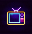 analog tv neon sign vector image