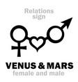 astrology venus amp mars vector image vector image
