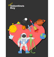 Astronaut and alien friends Valentines day in vector image