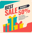 banner best selling in flat design retro vector image vector image