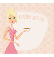 Beautiful lady drinking coffee card vector image vector image