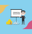 business man expert financing give financial vector image