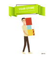 cartoon shopping people shop concept vector image vector image