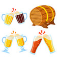 colorful cartoon draft beer set vector image vector image
