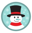 Cute snowman head icon button vector image vector image
