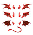 devil tail horns and wings demonic red elements vector image