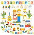 festa junina icons set vector image vector image