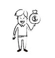 figure man with bag cash money in the hand vector image vector image